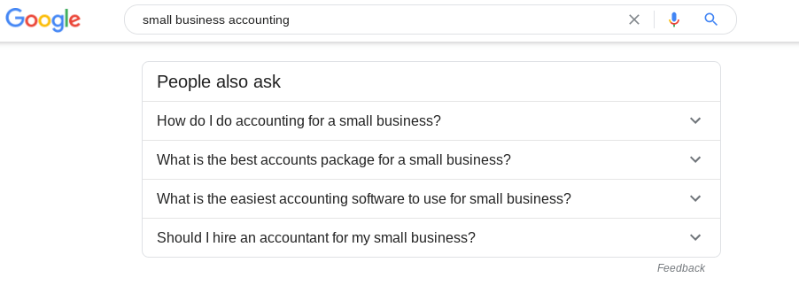 Google search for small business accounting