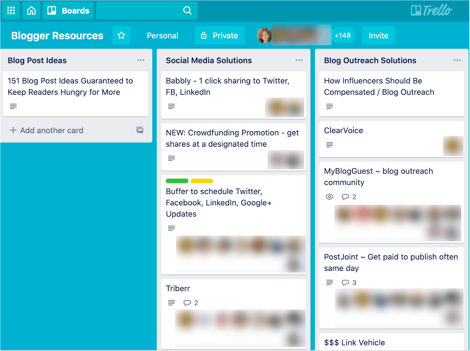 Blogger resources from Trello