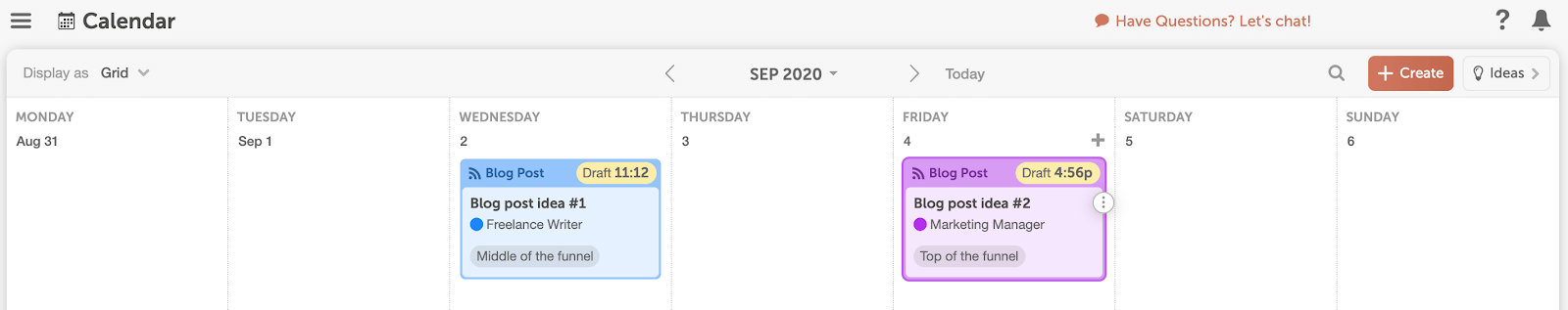 Content map in CoSchedule