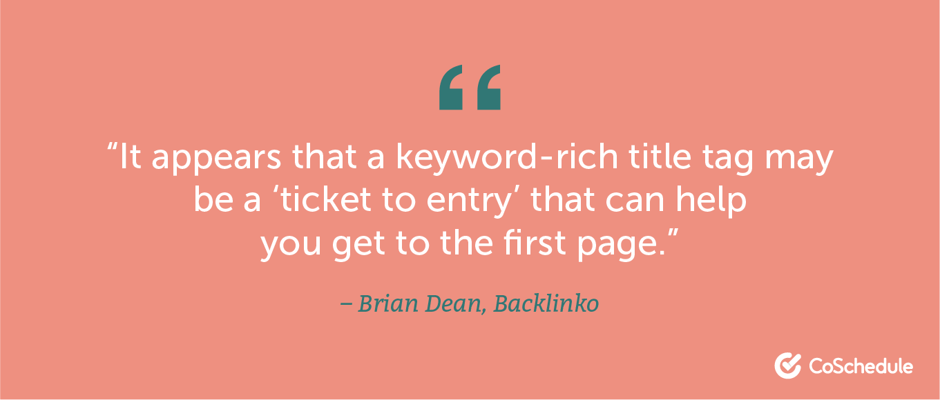 Quote from Brian Dean about using keywords