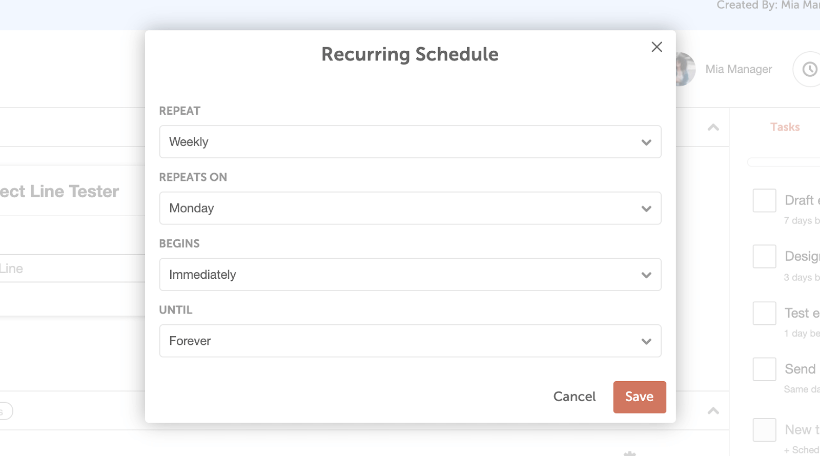Recurring Schedule on Project Templates