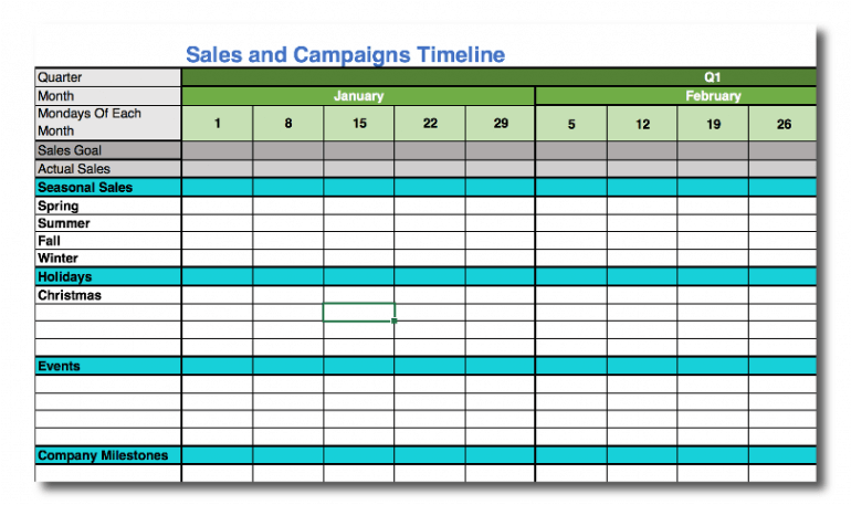 Blank sales and campaigns timeline template