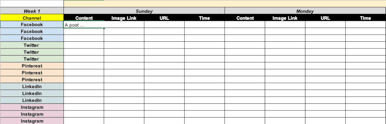 Example of a social media calendar update