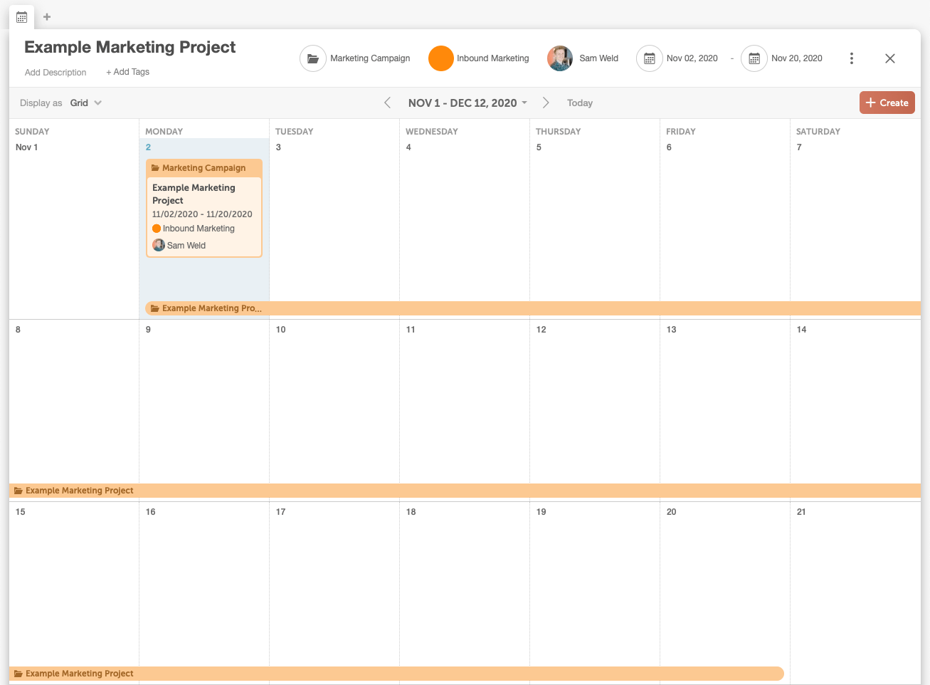Calendar view of projects