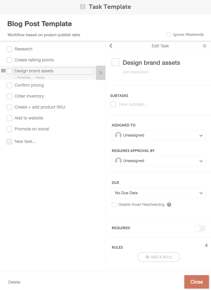 CoSchedule task template feature