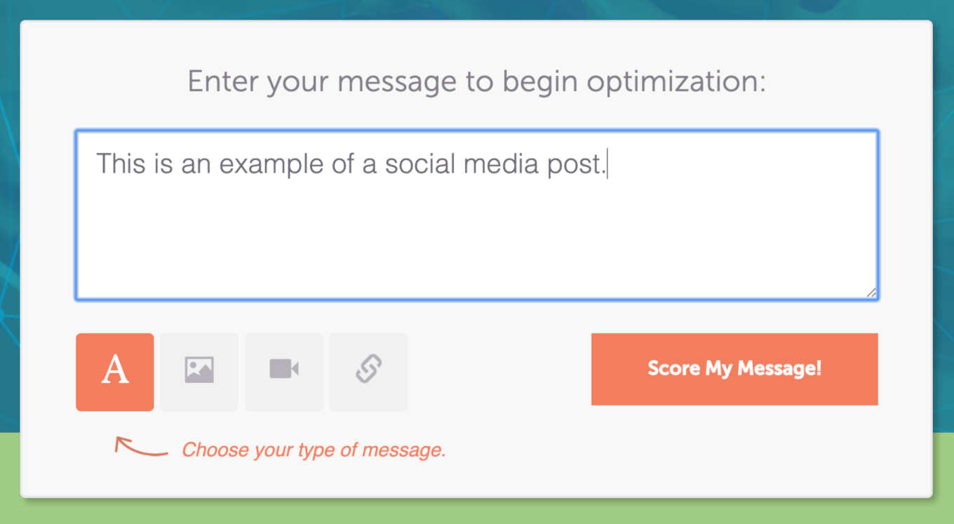 Writing a social media post in the Social Message Optimizer