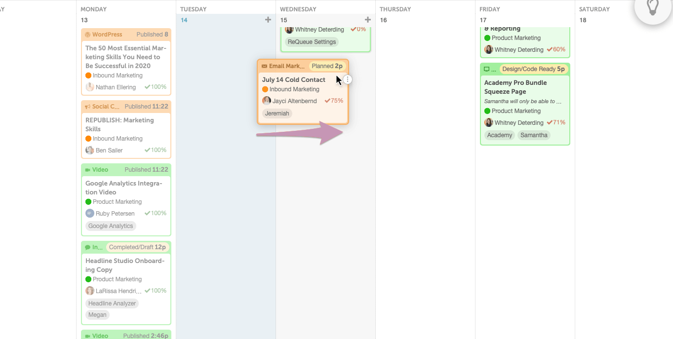 Drang-and-drop feature in CoSchedule