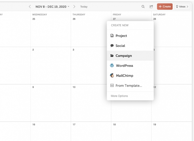 Creating a campaign project in CoSchedule