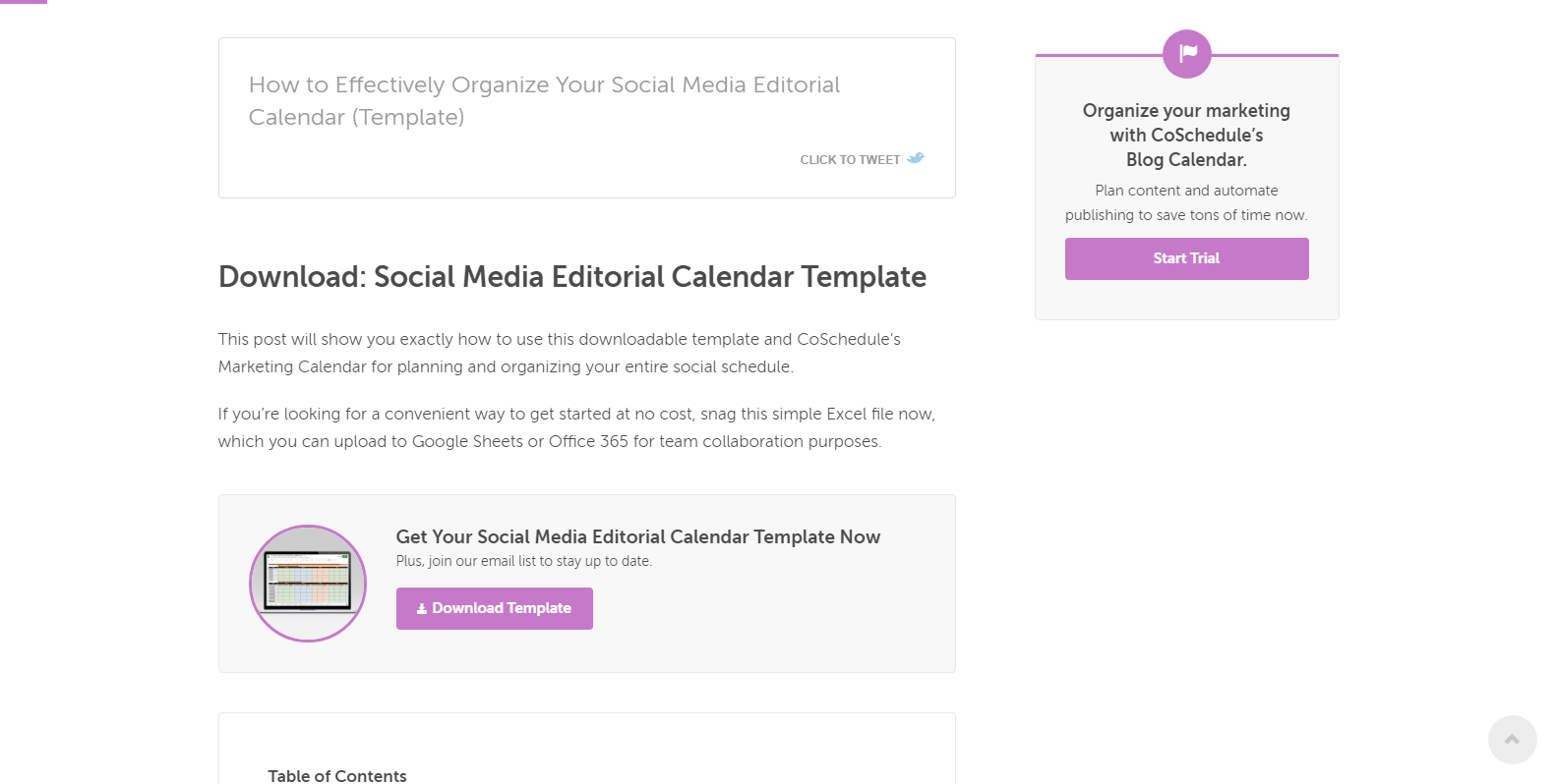 Social media editorial calendar lead magnet