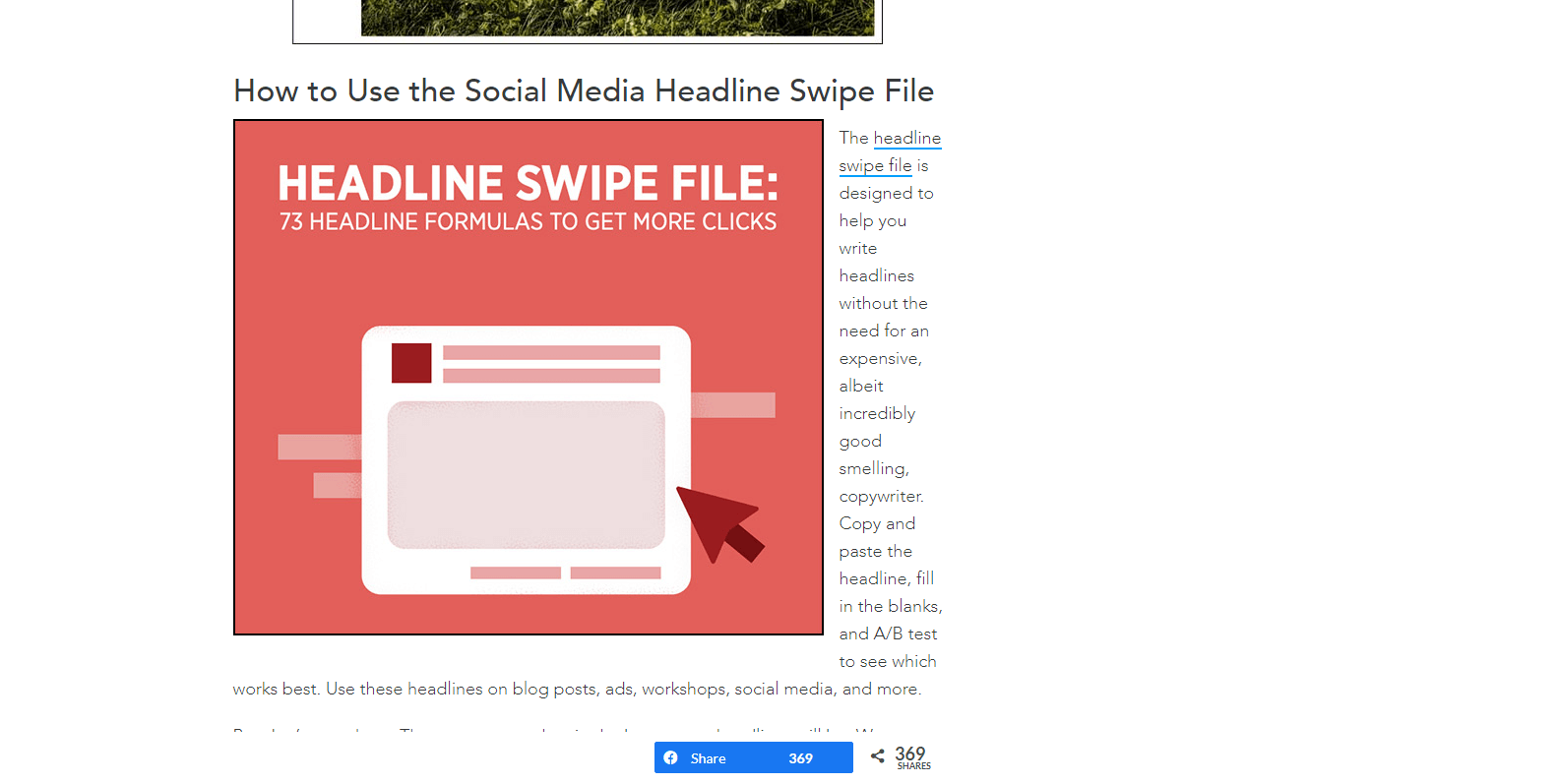 Swipe file example from Digital Marketer