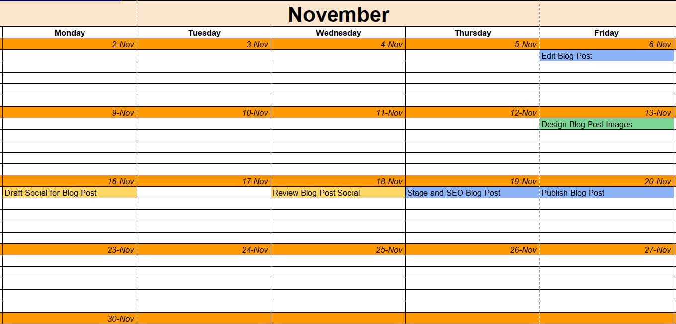 Blog post example in the content calendar template