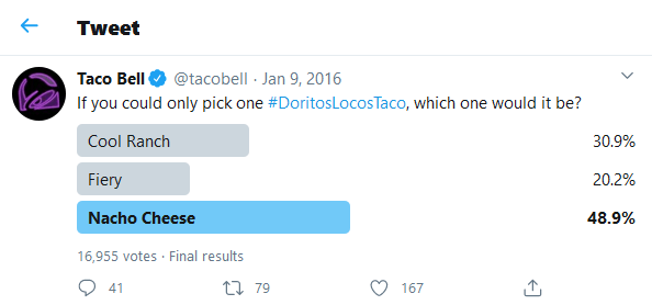 Twitter poll from Taco Bell