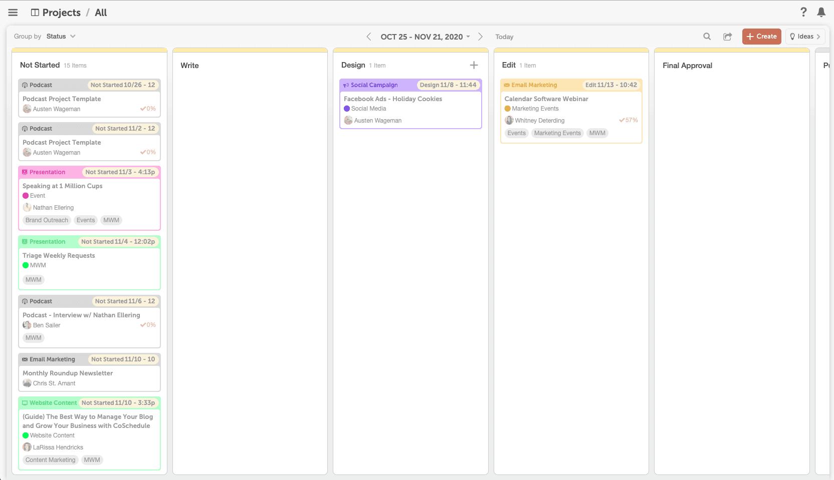CoSchedule kanban calendar view