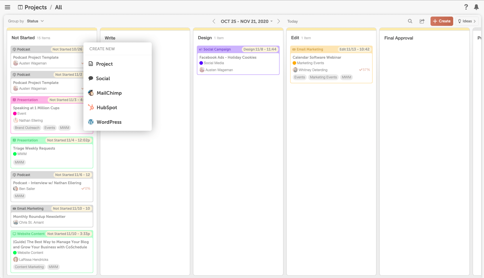 Adding a project to the kanban dashboard