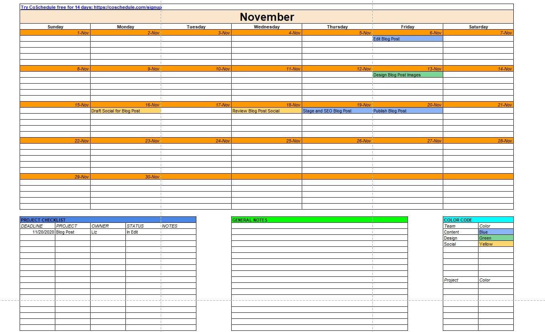 Marketing and content calendar template