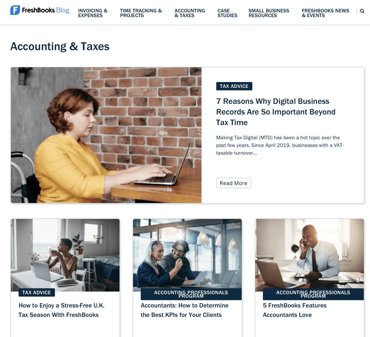 FreshBooks blog homepage