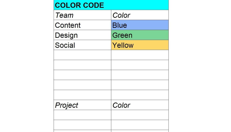 Color coding key for calendar templates