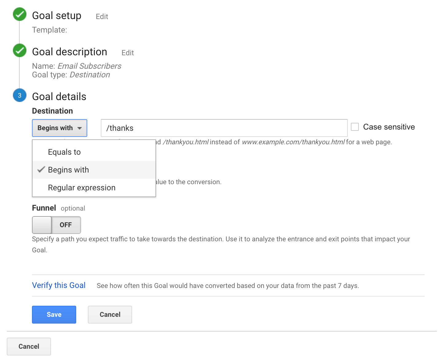 Describing your new goal in Google Analytics
