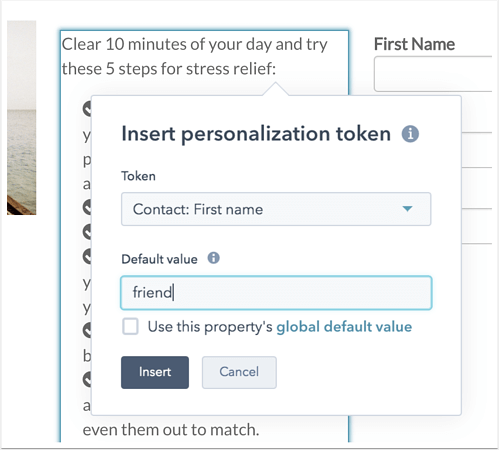 Personalization tokens
