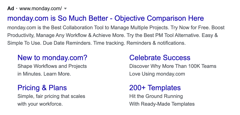 Product comparison campaign