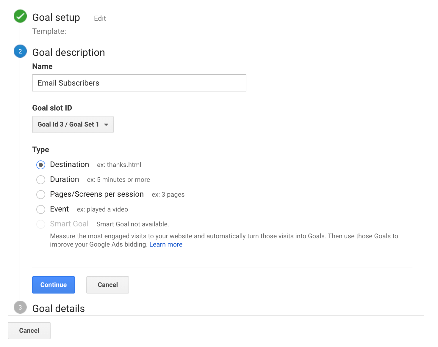 Tracking a conversion in Google Analytics