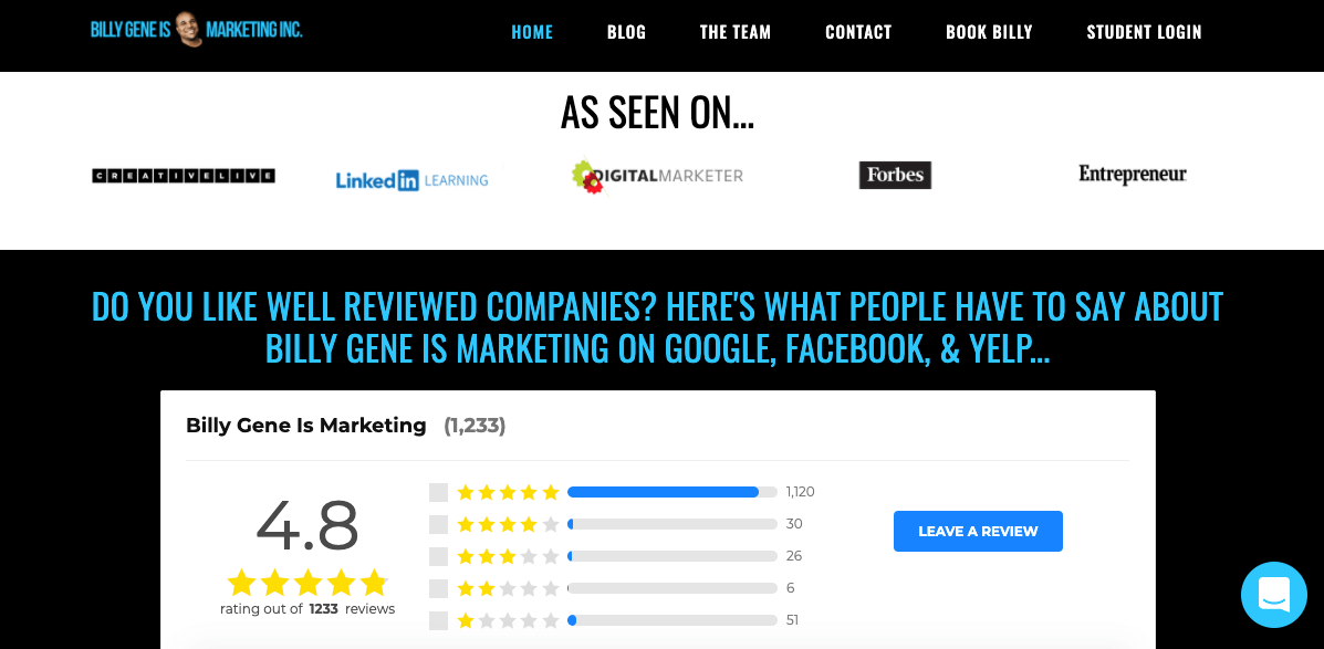 Billy Gene Is Marketing homepage