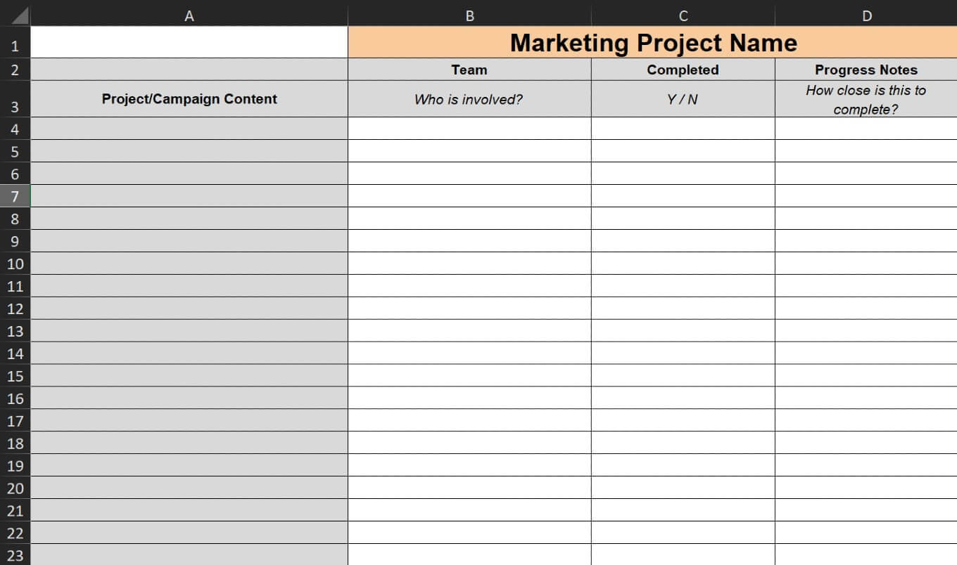 Marketing task checklist template