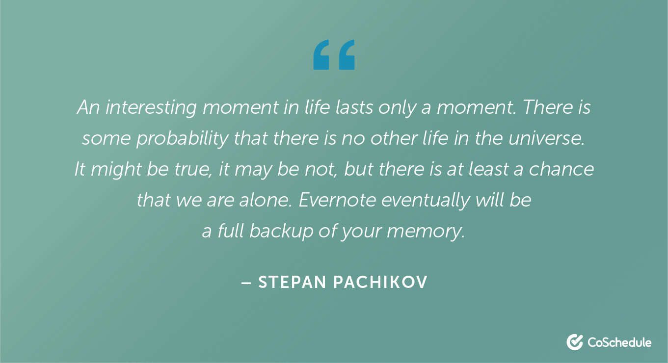 Quote from Stepan Pachikov about Evernote