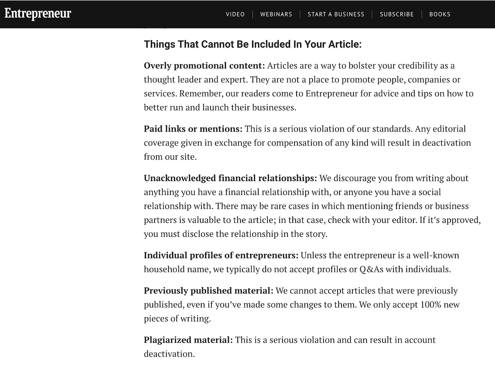 Entrepreneur content rules
