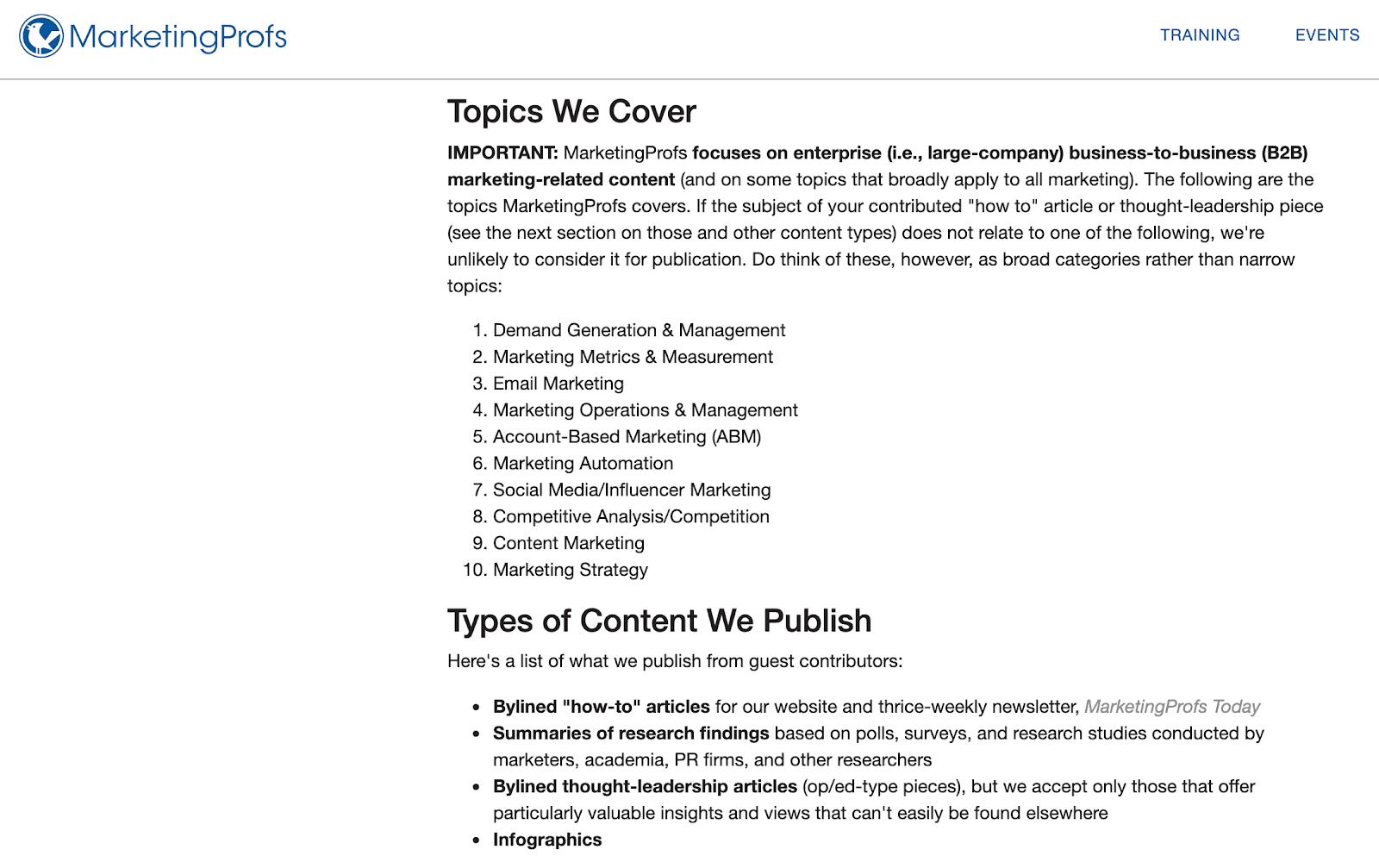 MarketingProfs topics