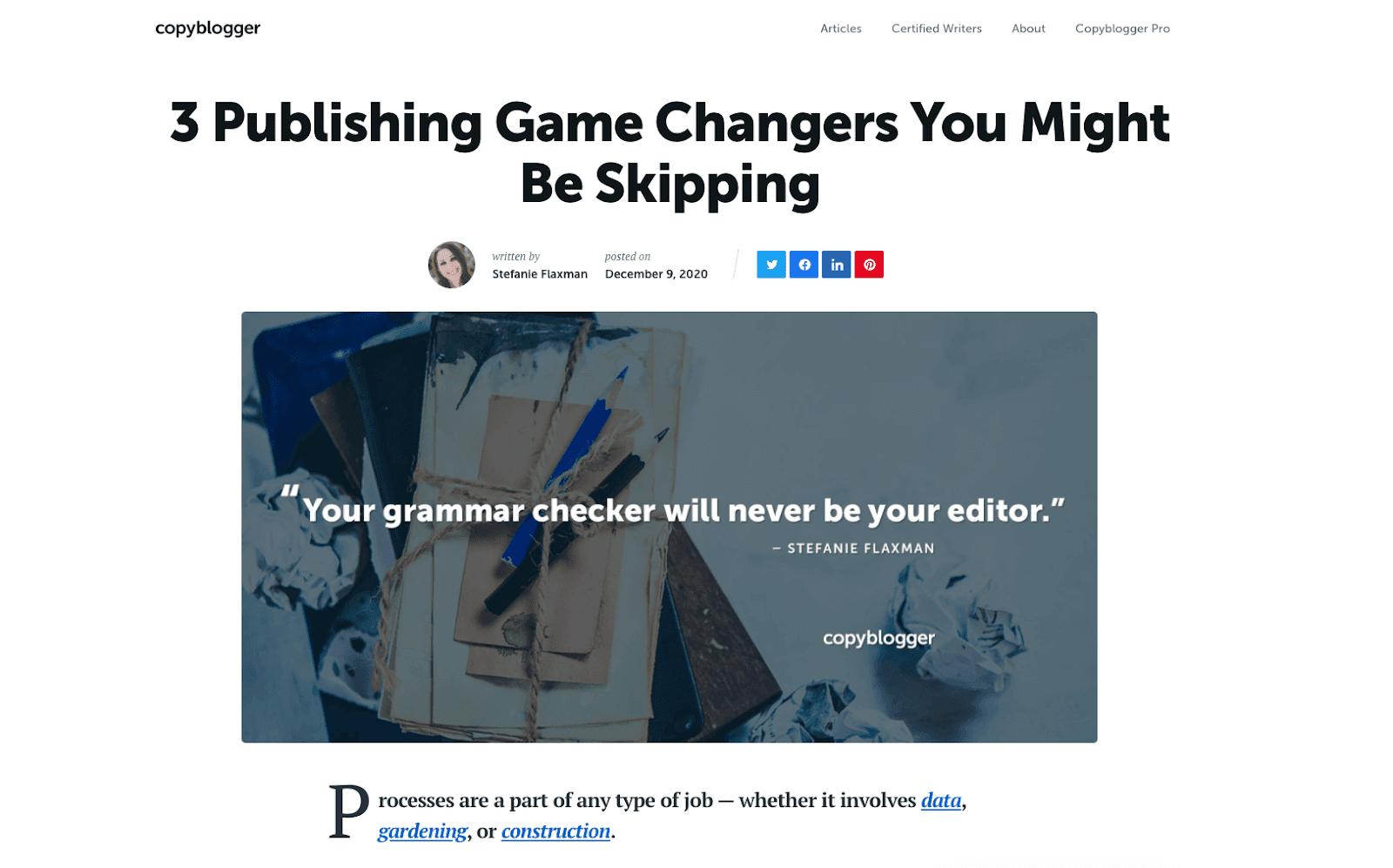 CopyBlogger aligned headline