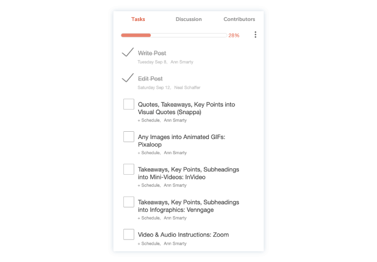 CoSchedule to-do list