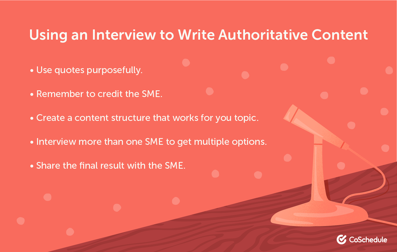 Conducting an interview to write authoritative content