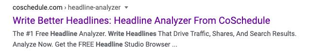 CoSchedule's Headline Analyzer on SERP