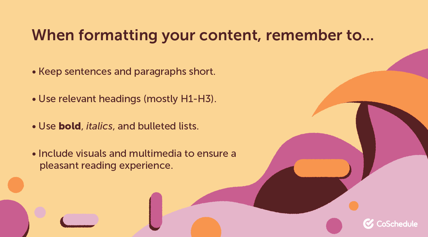 Formatting your content