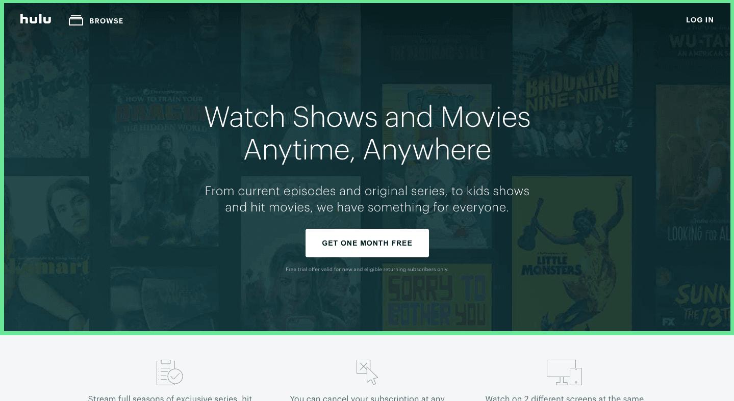 Hulu free trial sales funnel