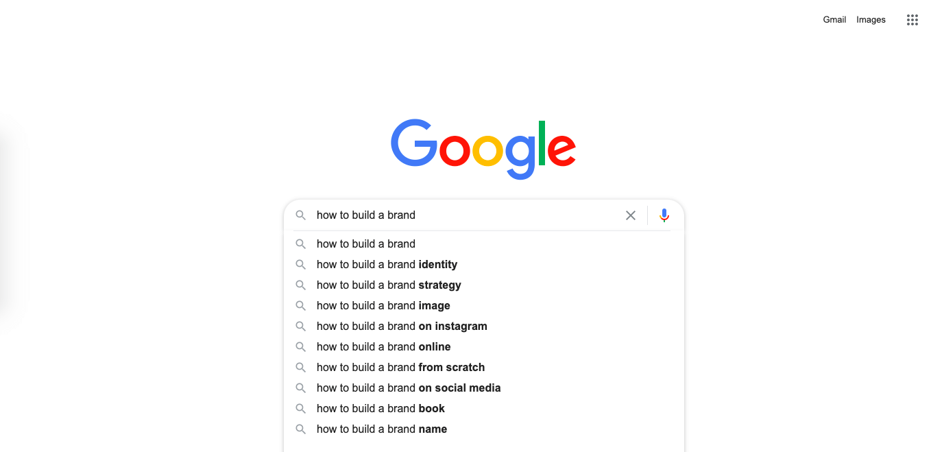 """how to build a brand"" Google search"