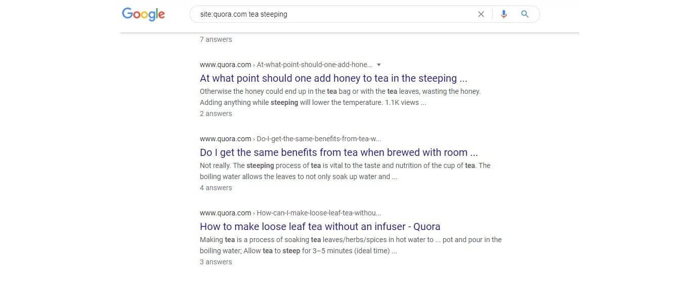Google search for Quora