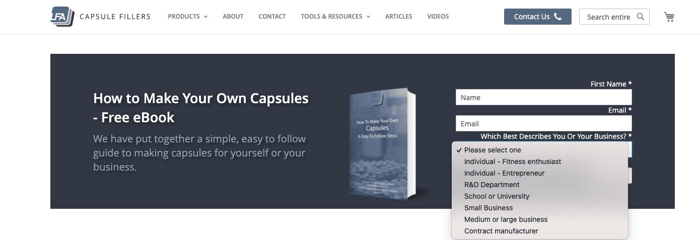 LFA Capsule Fillers free ebook offer sales funnel