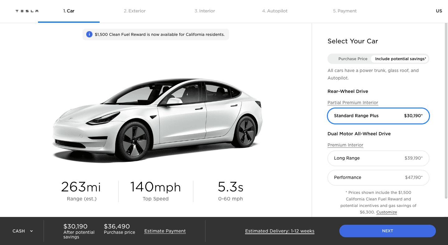 Tesla online checkout