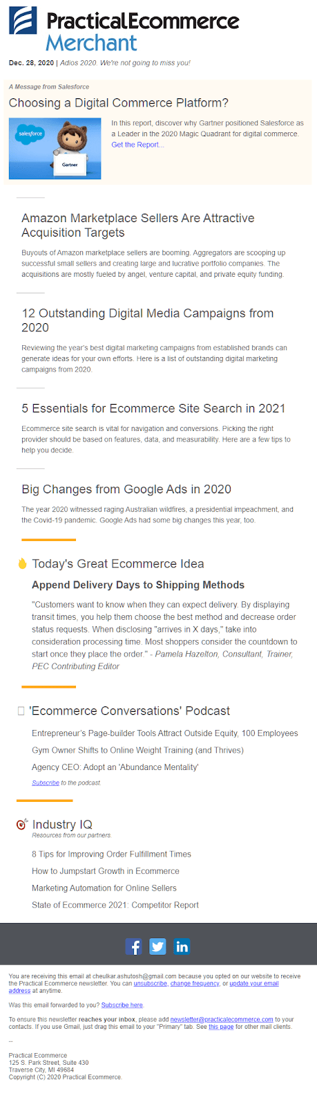 Practical eCommerce newsletter
