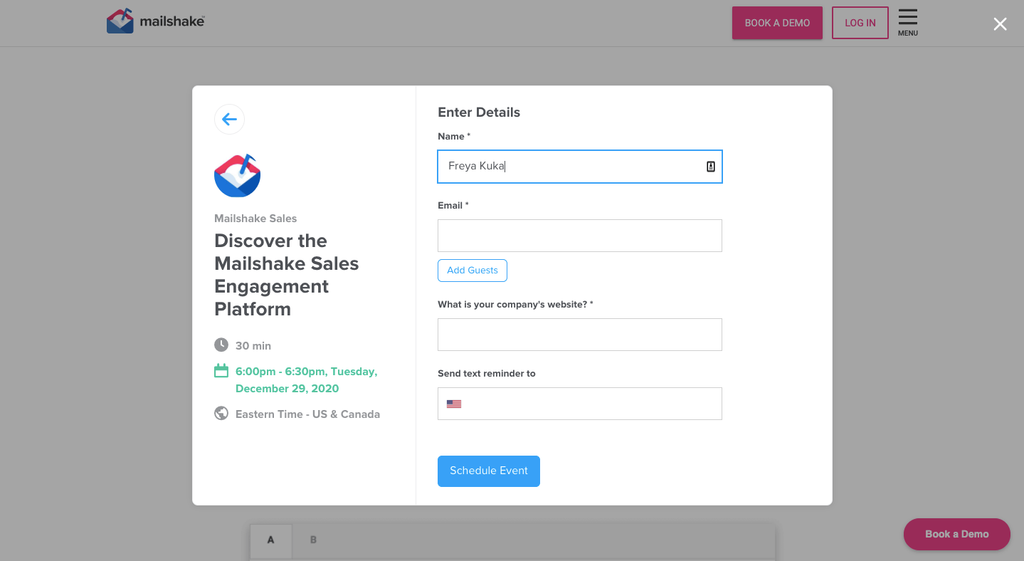 Mailshake - entering personal/company info for signup