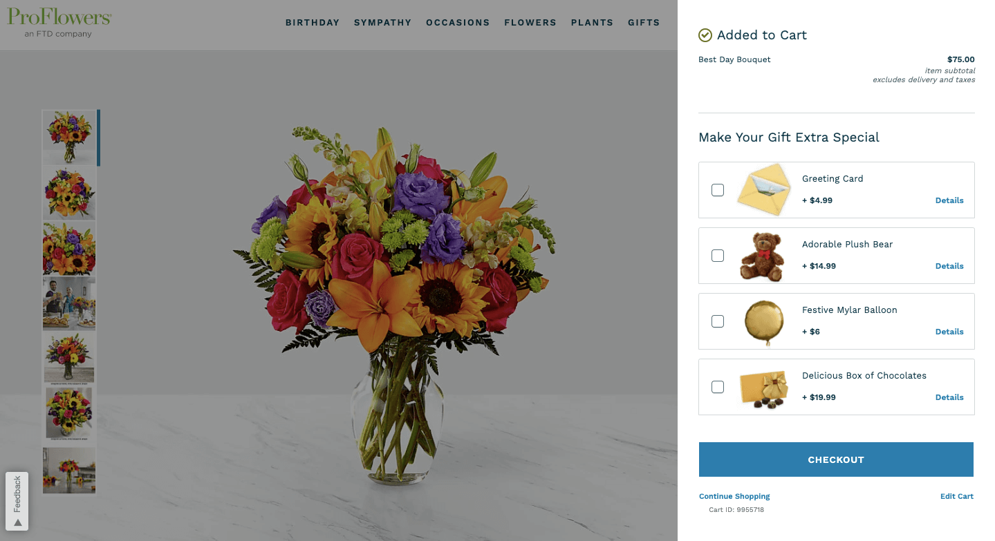 ProFlowers online checkout