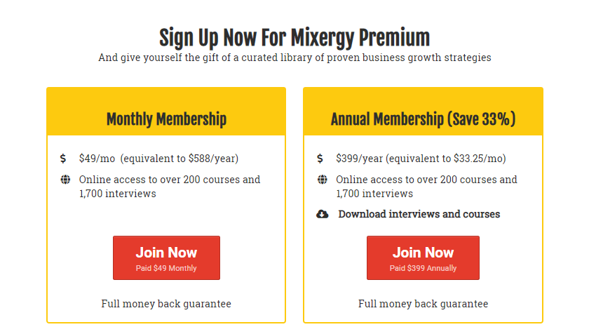 Sales funnel sign up for Mixergy Premium