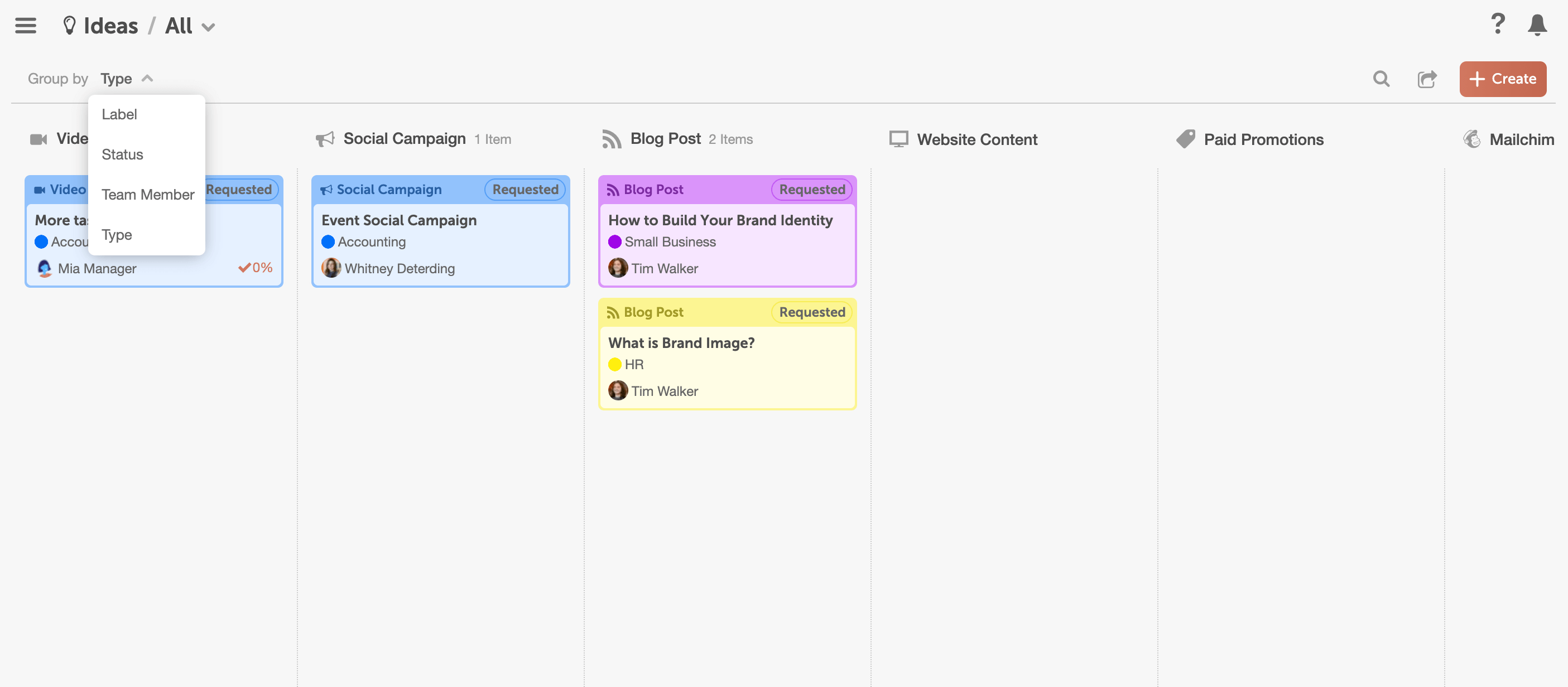 CoSchedule Idea Board