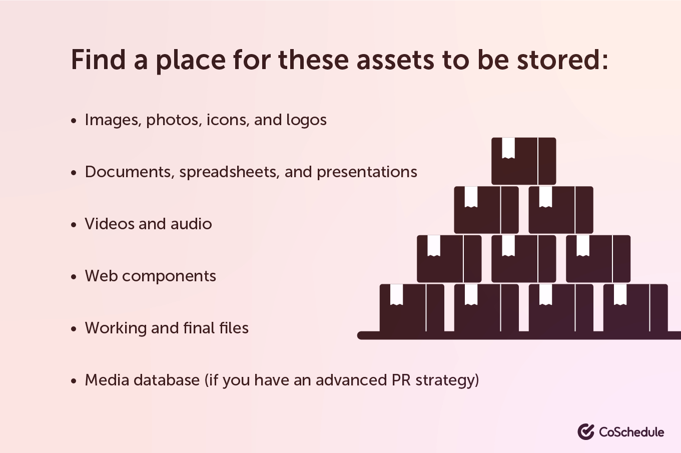 Find a place to store your assets