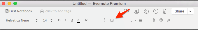Screenshot of the checklist button in Evernote