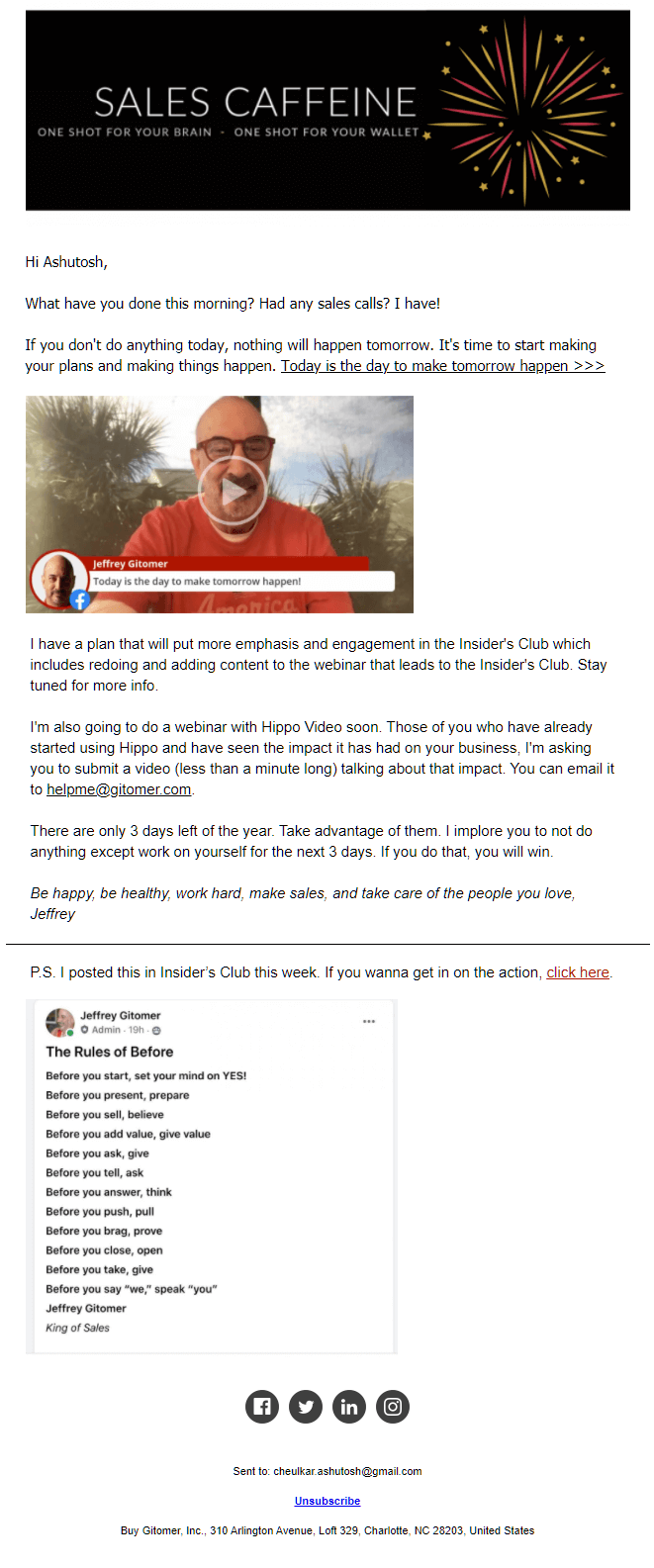Jeffrey Gitomer's Sales Caffeine newsletter