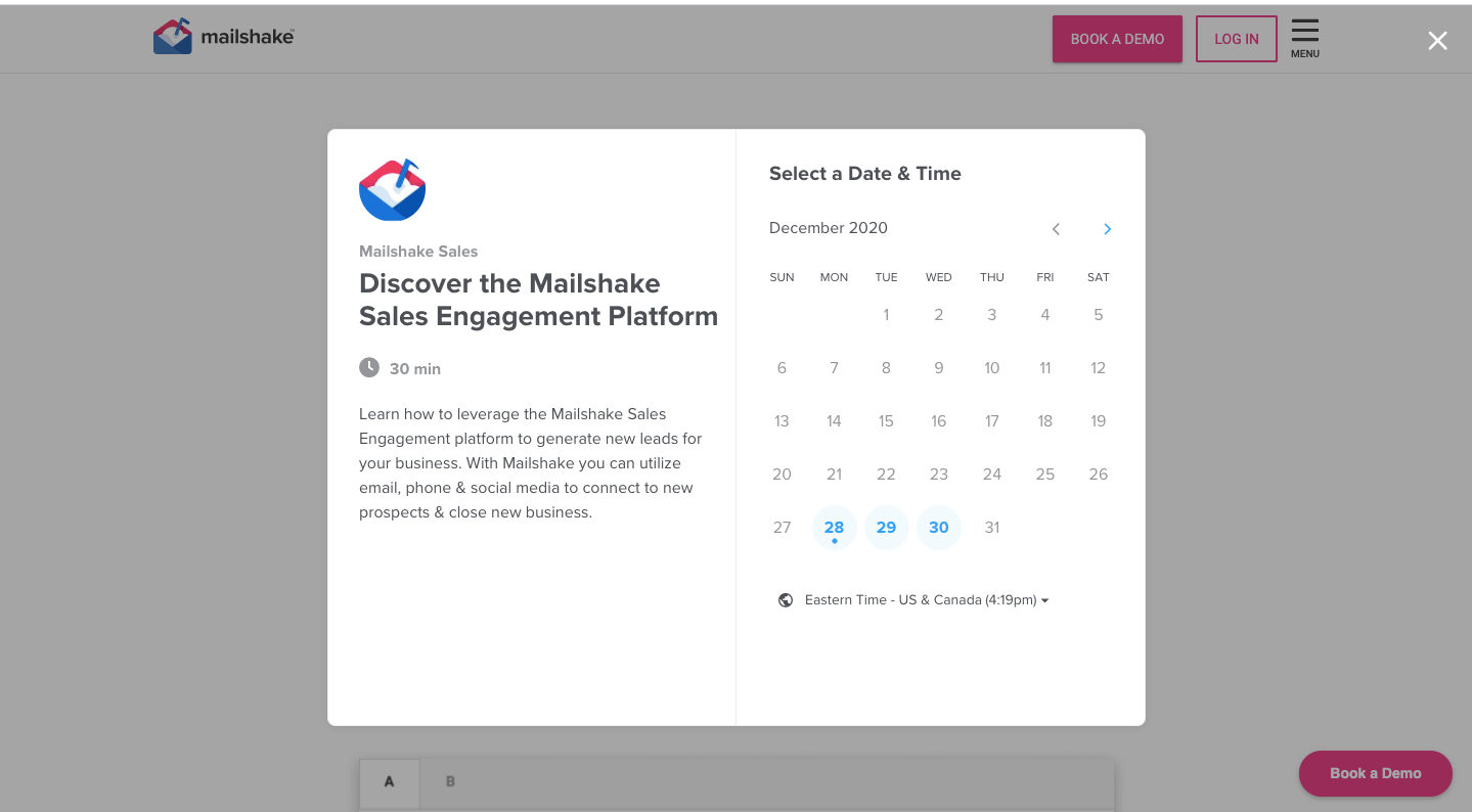 Setting Mailshake demo date and time