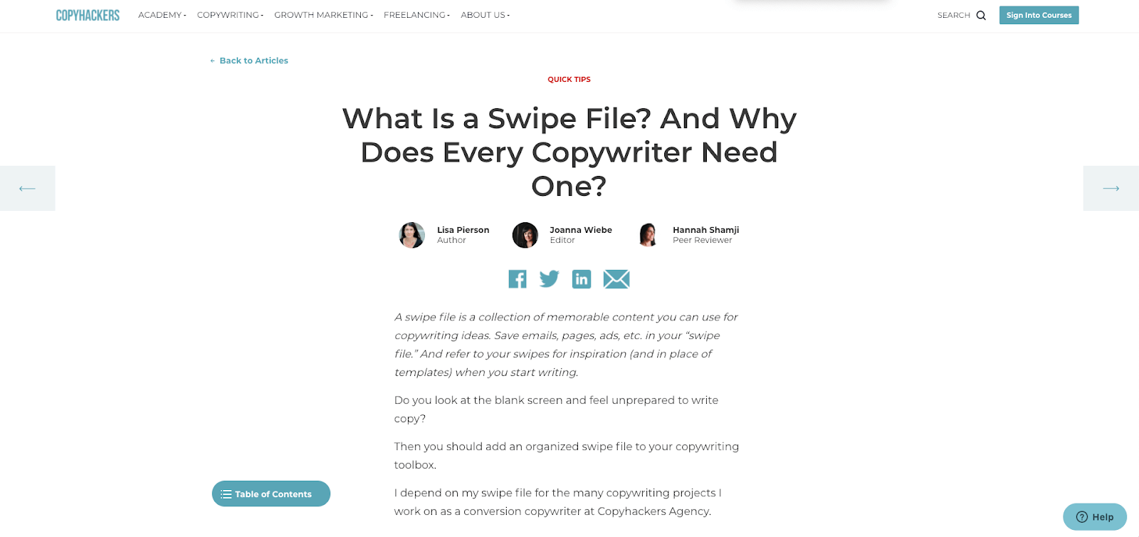 What's a swipe file
